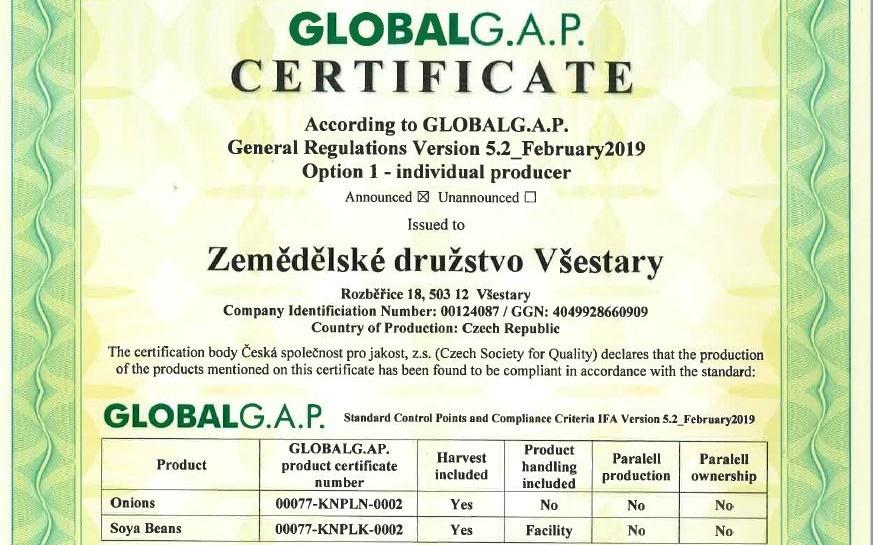 Certifikát kvality GLOBAL G.A.P.